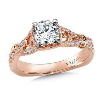 Diamond Engagement Ring Mounting with Side Stones in 14K Rose Gold (.21 ct. tw.)