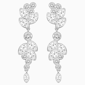 Diapason Pierced Earrings, White, Rhodium plated