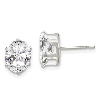 Sterling Silver 9x7 Oval Snap Set CZ Stud Earrings