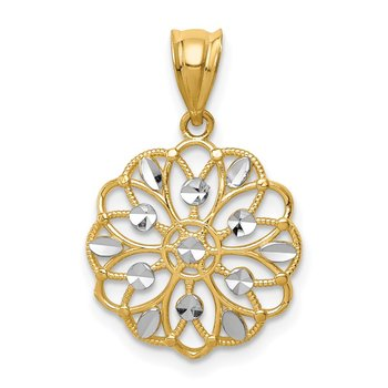 14K w/Rhodium Diamond-Cut Round Pendant