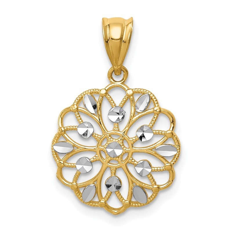 Quality Gold 14K w/Rhodium Diamond-Cut Round Pendant