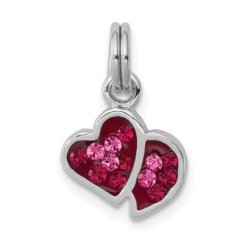 Sterling Silver Rhodium-platedPink & Red CZ Hearts Charm