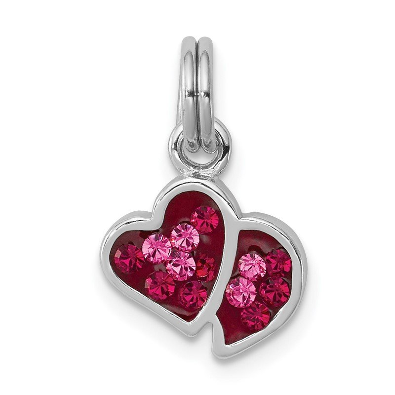 Quality Gold Sterling Silver Rhodium-platedPink & Red CZ Hearts Charm