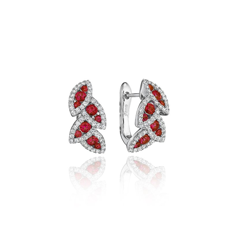 Fana Glam Galore Dramatic Ruby and Diamond Leaf Earrings