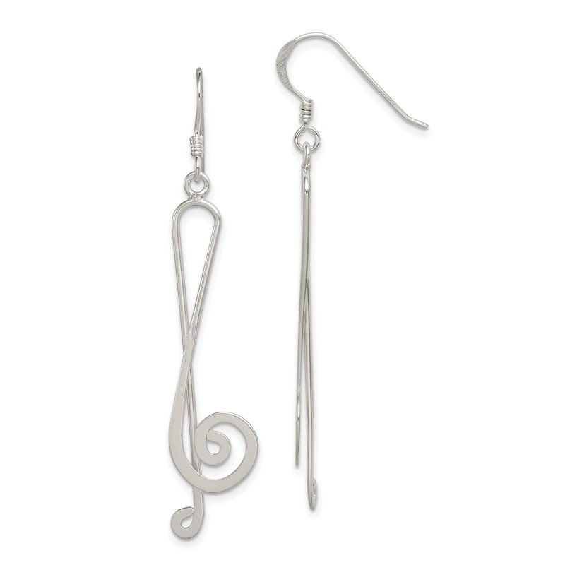Quality Gold Sterling Silver Fancy Treble Clef Earrings