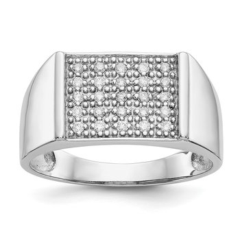 14k White Gold Diamond Mens Ring
