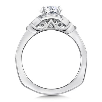 Diamond & Blue Sapphire Engagement Ring Mounting in 14K White Gold (.28 ct. tw.)