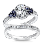 Valina Diamond & Blue Sapphire Engagement Ring Mounting in 14K White Gold (.28 ct. tw.)