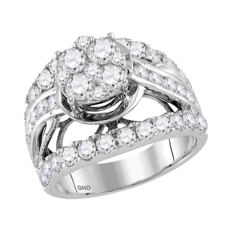 Kingdom Treasures 14kt White Gold Womens Round Diamond Cluster Bridal Wedding Engagement Ring 3.00 Cttw