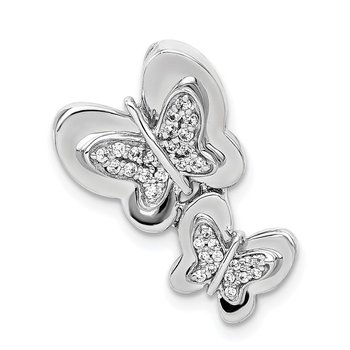 14k White Gold 1/6ct. Diamond Butterfly Chain Slide
