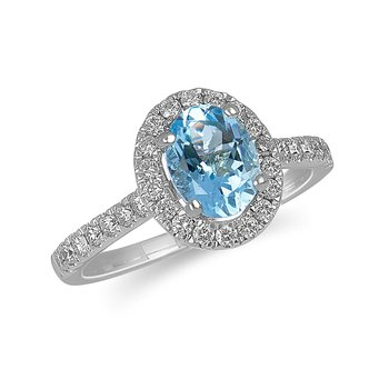 14K WG and diamond Engagement Ring set with Oval Acquamarine Shape Halo and 8x6 MM Oval Center in Split Prong Setting