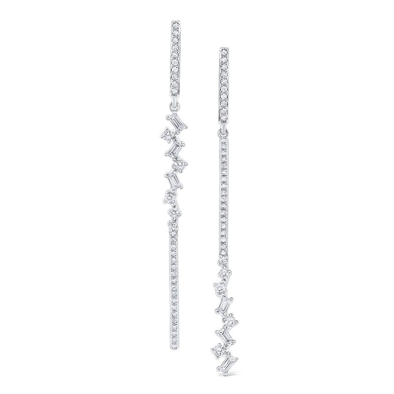 KC Designs Asymmetrical Diamond Mosaic Line Earrings Set in 14 Kt. Gold