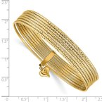 Quality Gold 14K w/ Dangle Heart Set of 7 Slip-on Textured Bangles