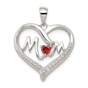 Sterling Silver CZ Mom Heart Pendant