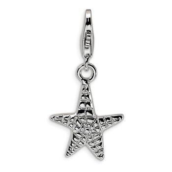 Sterling Silver RH Polished Starfish w/Lobster Clasp Charm