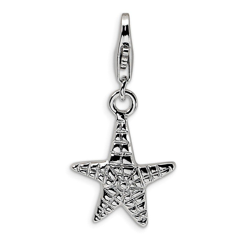 Quality Gold Sterling Silver Amore La Vita Rhodium-plated Polished Starfish Charm