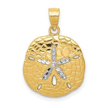 14K with White Rhodium Polished Diamond-Cut Sand Dollar Pendant