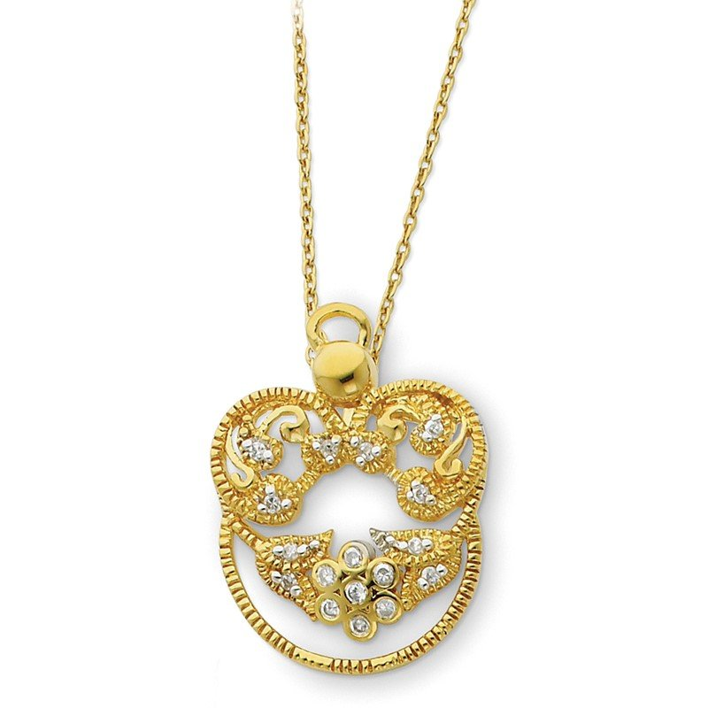 Quality Gold Sterling Silver & Gold-plated CZ Angel of Grace 18in Necklace