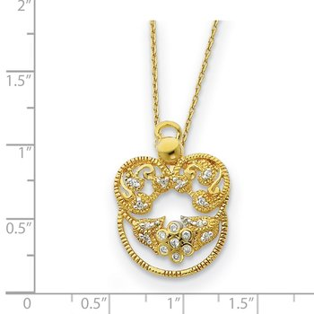 Sterling Silver & Gold-plated CZ Angel of Grace 18in Necklace