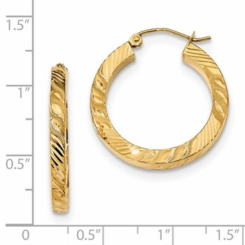 14k Polished & D/C Square Tube Hoop Earrings