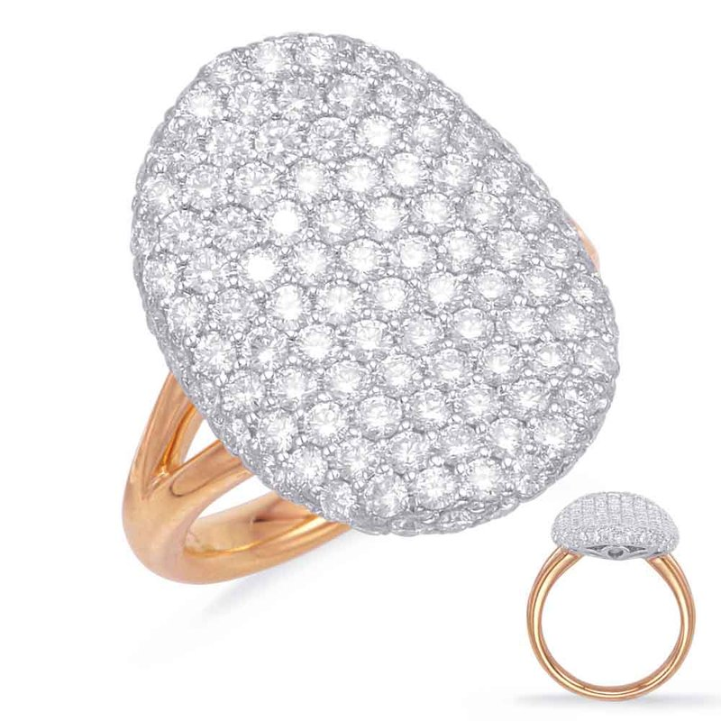 S. Kashi  & Sons Rose & White Gold Diamond Pave Ring