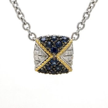 18KT AND STERLING SILVER SAPPHIRE NECKLACE