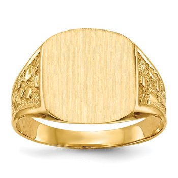14k 14.0x14.0mm Closed Back Men's Signet Ring