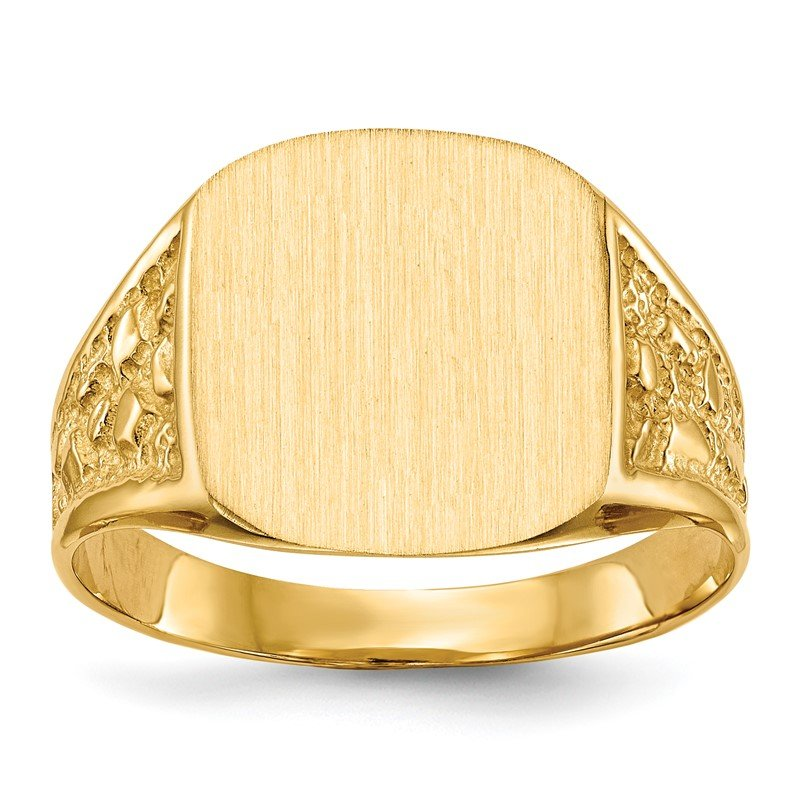 Quality Gold 14k 14.0x14.0mm Closed Back Men's Signet Ring