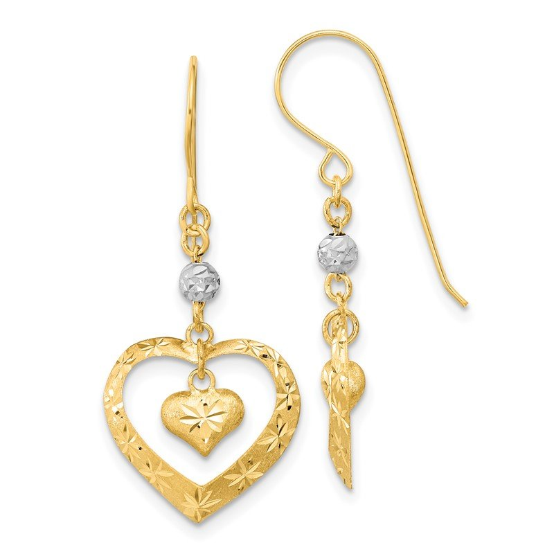Quality Gold 14k Two-tone Satin D/C Heart Dangle Shepherd Hook Earrings