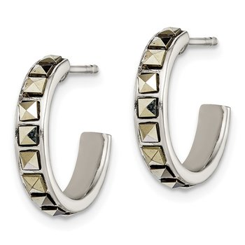 Sterling Silver Square Marcasite 15x3.5 Hoop Post Earrings