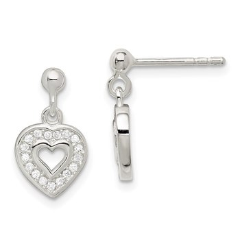 Sterling Silver CZ Heart Post Dangle Earrings