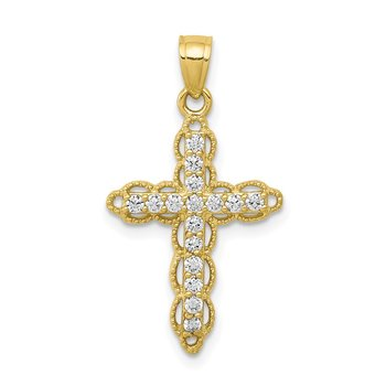 10k CZ Filigree Cross Pendant
