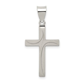 Sterling Silver Textured, Brushed and Polished Latin Cross Pendant