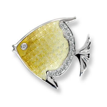 Sterling Silver Angelfish Brooch-Yellow. White Sapphires.