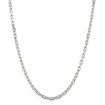 Sterling Silver Rhodium Plated Diamond-cut Open Link Cable Chain