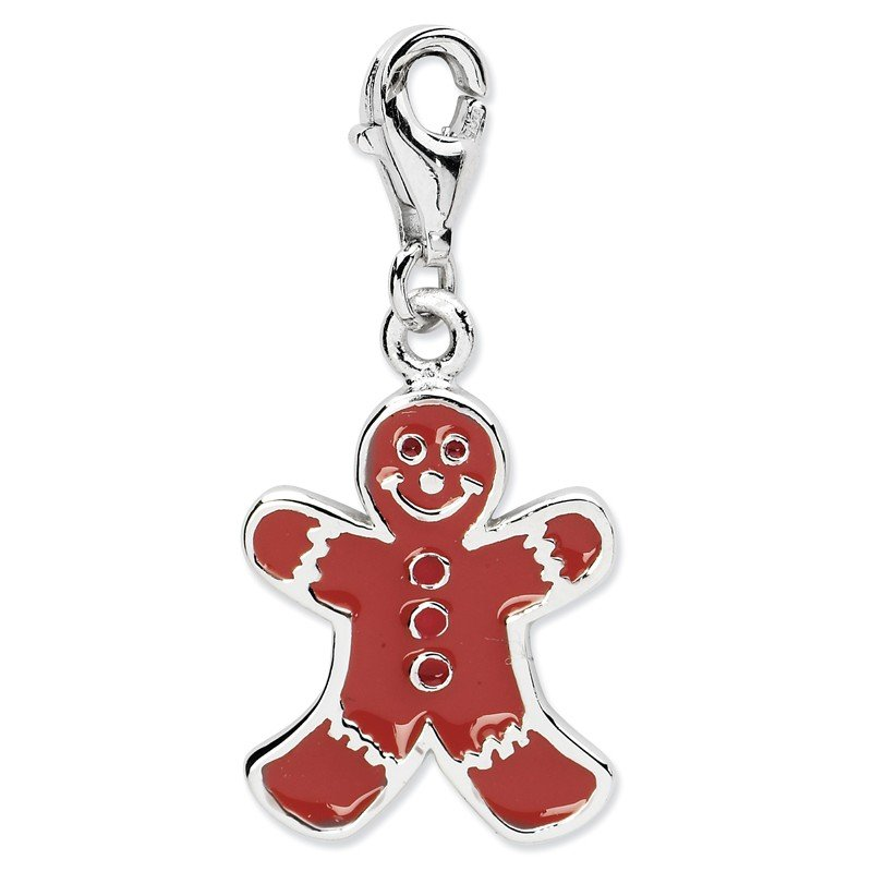Quality Gold SS RH Enamel Gingerbread man w/Lobster Clasp Charm