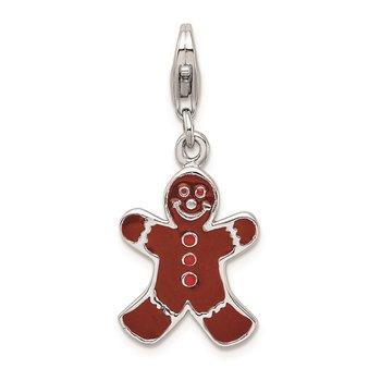 SS RH Enamel Gingerbread man w/Lobster Clasp Charm