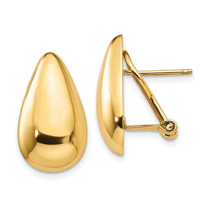 Quality Gold 14k Polished Teardrop Omega Back Post Earrings