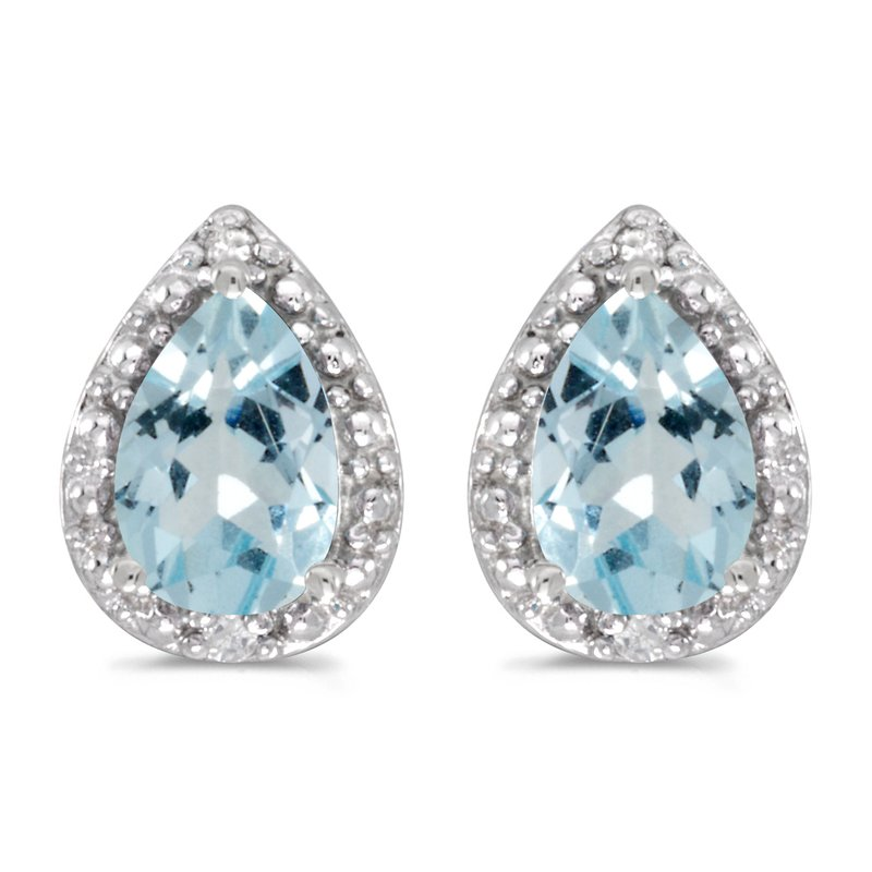 Color Merchants 14k White Gold Pear Aquamarine And Diamond Earrings