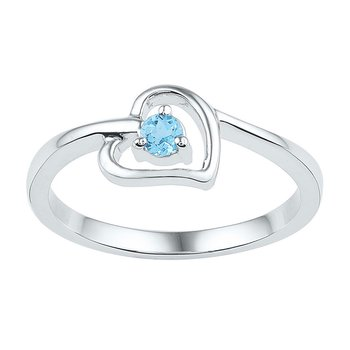 Sterling Silver Womens Round Lab-Created Blue Topaz Heart Ring 1/4 Cttw