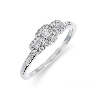 10K WG Diamond Three Stone with Square Halo Ring in Prong and Shared Prong Setting