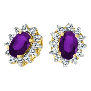 14k Yellow Gold Oval Amethyst and .25 total ct Diamond Earrings