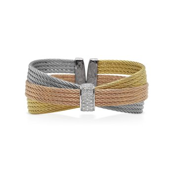 Yellow, Rose, & Grey Cable Bow Cuff with Diamonds set in White Gold