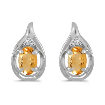 14k White Gold Oval Citrine And Diamond Earrings