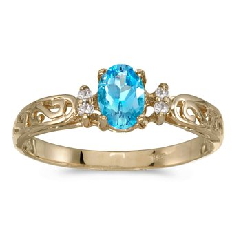 14k Yellow Gold Oval Blue Topaz And Diamond Filagree Ring