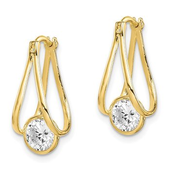 10K Polished CZ Hoop Earrings