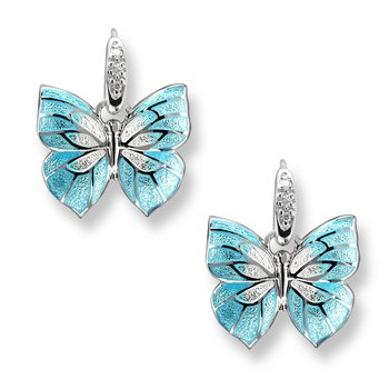 Blue Butterfly Wire Earrings.Sterling Silver-White Sapphires