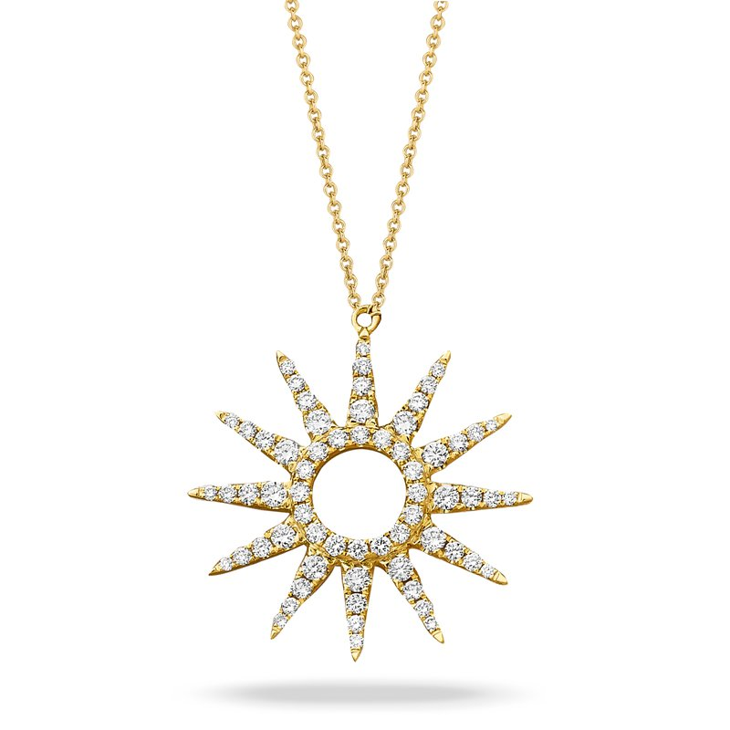 Doves Sunburst Diamond Necklace 18KY