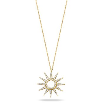 Sunburst Diamond Necklace 18KY