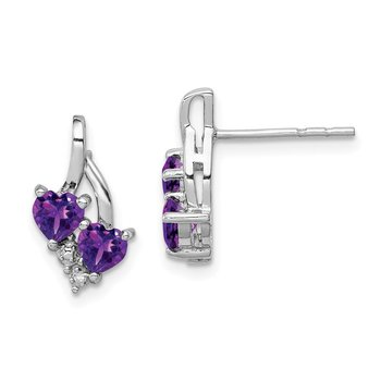 Sterling Silver Rhodium-plated Amethyst Diamond Earrings